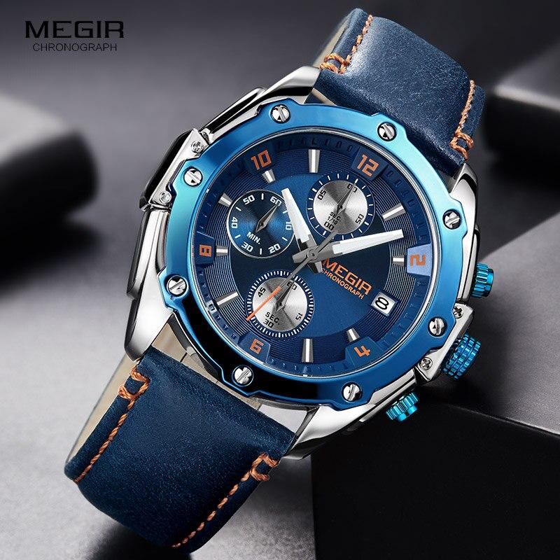 MEGIR herren Chronograph Quarz Uhren Lederband Armee Sport Casual Armbanduhr Mann Relogios Masculino Uhr 2074 Blau