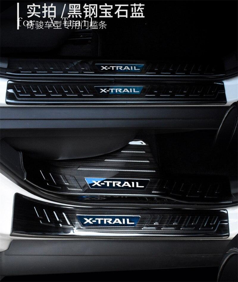 Pegatinas para coche, umbral de puerta de acero inoxidable, protectores de placa de desgaste, umbral de puerta s Protector para Nissan Rogue 2017 a 2019 x-trail T32