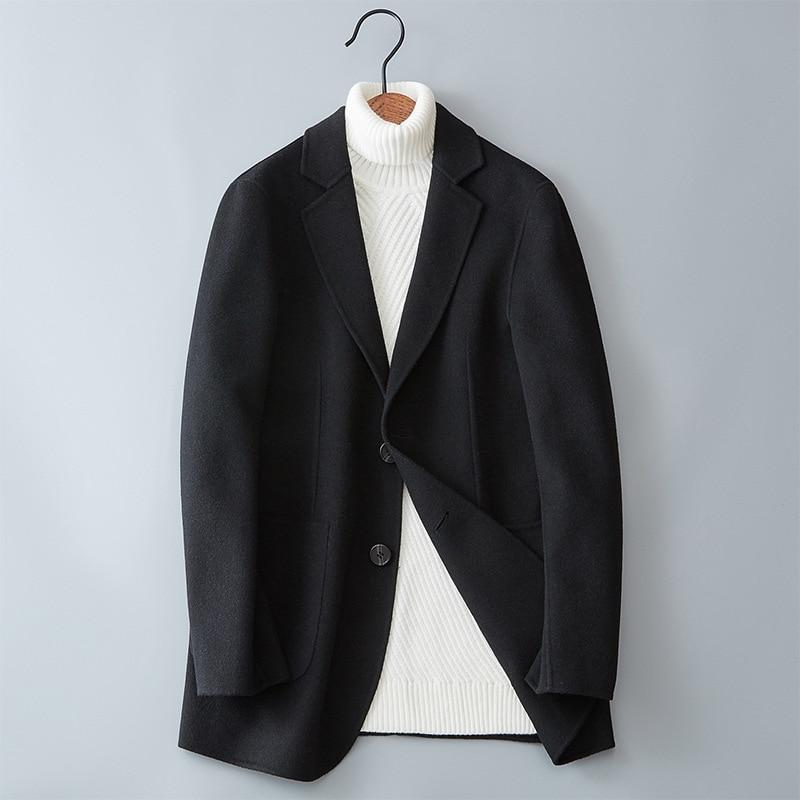 Automne hiver couleur Pure hommes à manches longues en laine manteaux noir gris vin rouge bleu marine classique jeunes hommes Slim Fit Long manteau
