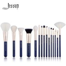 Jessup pinceaux 15 pièces prussien bleu/or maquillage pinceaux ensemble beauté kits maquillage poudre fond de teint fard à paupières pinceau à lèvres