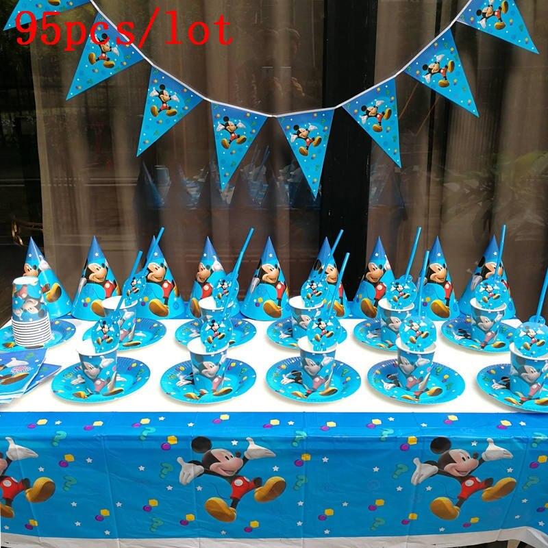 95 pçs/lote dos desenhos animados mickey mouse tema guardanapos de banho do bebê crianças festa de aniversário decoração conjunto de presente das crianças fontes de festa