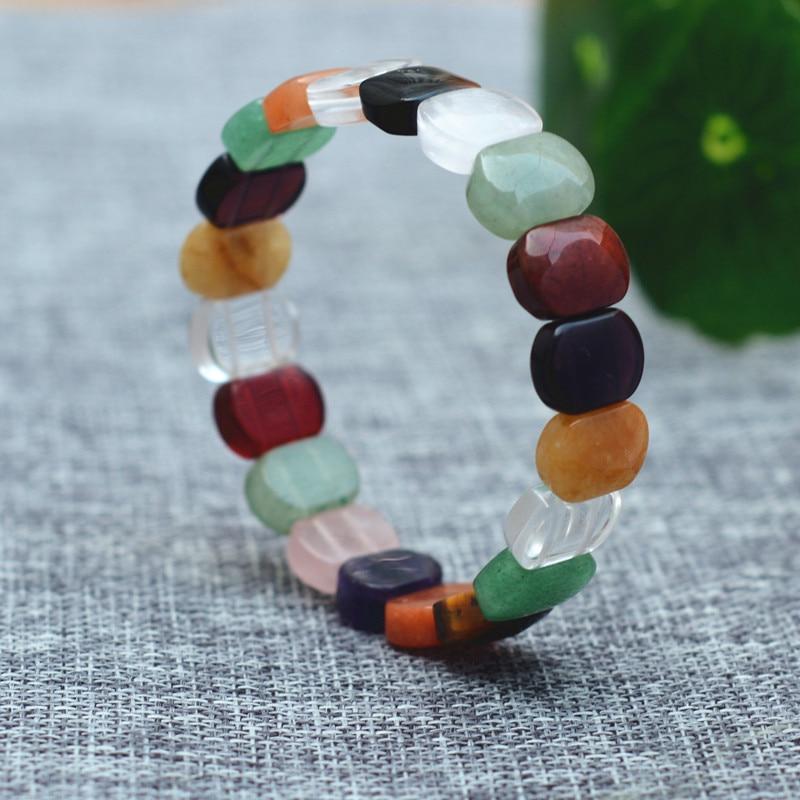 Natural Colorful Jades Stone Bracelets Hand-Carved Colorful Hand Chain Bracelets Gift for Women Girl Jades Stone Jewelry