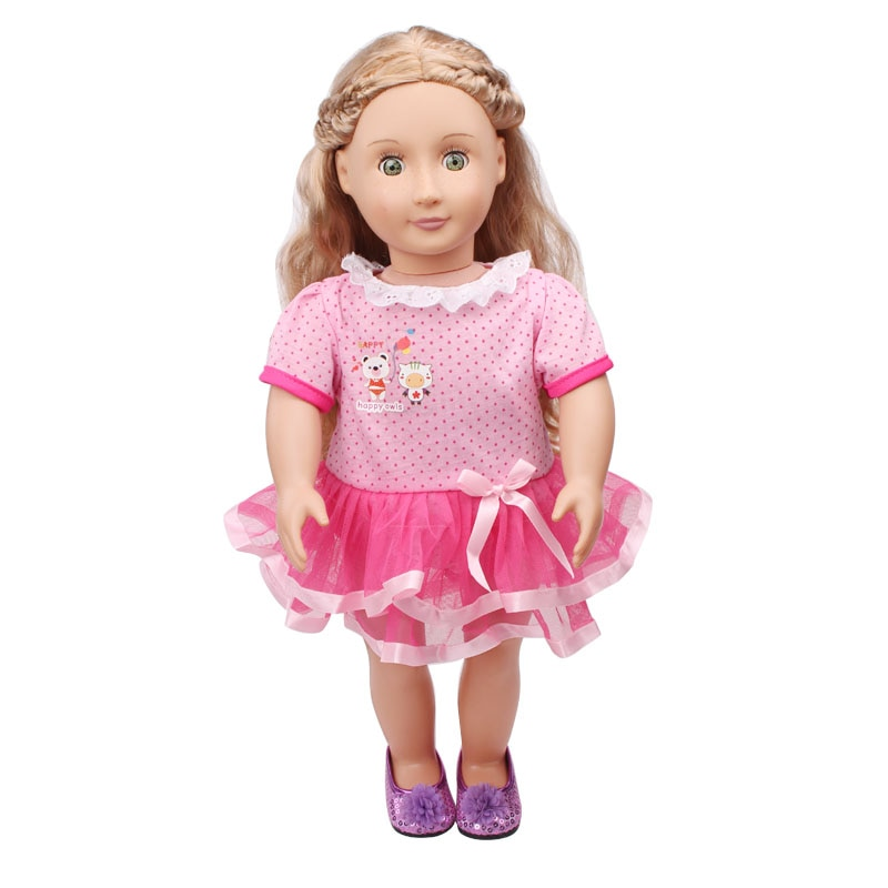 Doll clothes Cute baby pink dress toy accessories fit 18 inch Girl doll and 43 cm baby dolls c546 cute resin bride and bridegroom toy doll