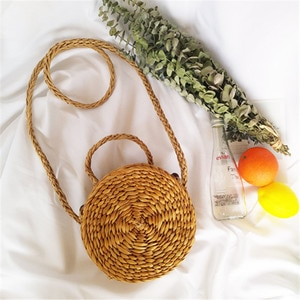 NEW Women Straw Bag Bohemian Bali Rattan Beach Handbag Small Circle Lady Vintage Crossbody Handmade Kintted Shoulder Bags