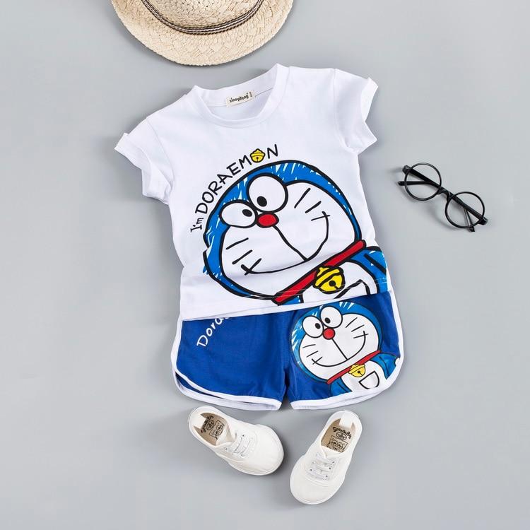 Комплект одежды с героями мультфильмов для маленьких мальчиков и девочек милые детские летние хлопковые От 1 до 4 лет комплекты одежды для мальчиков футболка + шорты