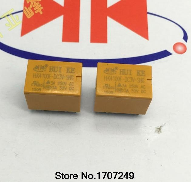 Free Shipping 100% new original relay 50pcs/lot  HUIKE signal relay HK4100F-DC3V-SHG 3V/6PIN/3A/