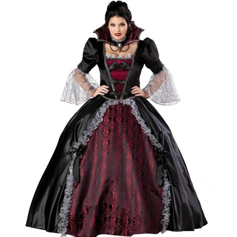 Luxury Halloween Cosplay Vicious queen women costume dress vintage gothic stand collar Masquerade cl