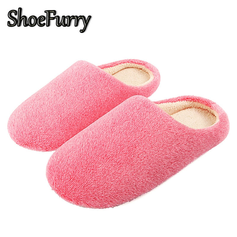 ShoeFurry Winter Fell Hausschuhe Frauen Baumwolle Schuhe Weiche Plüsch Niedliche Weibliche Hause Pelzigen Hausschuhe Warme Indoor Schuhe Schlafzimmer Hausschuhe