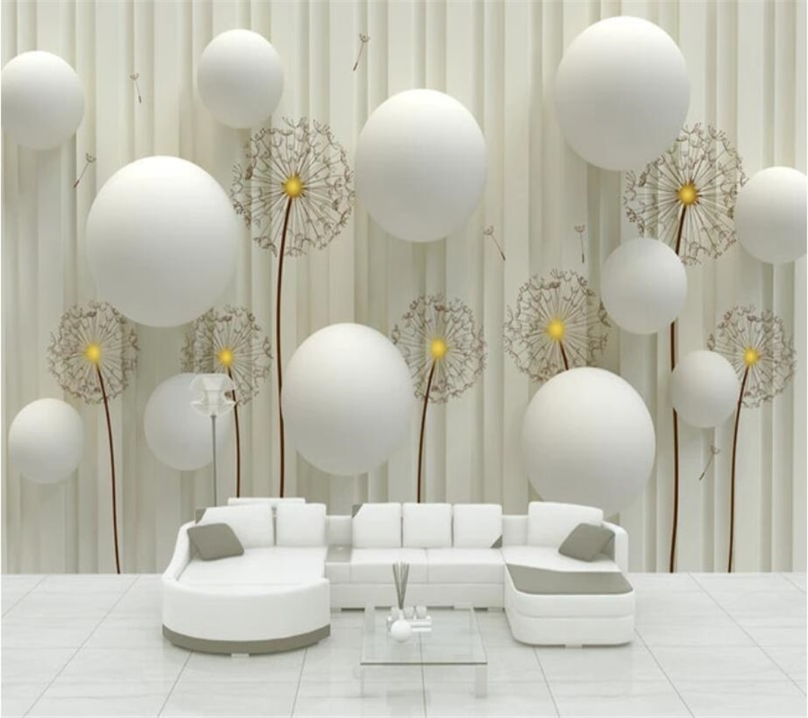 wellyu Custom large wallpaper murals 3D background wall three-dimensional ball dandelion decorative painting 3d