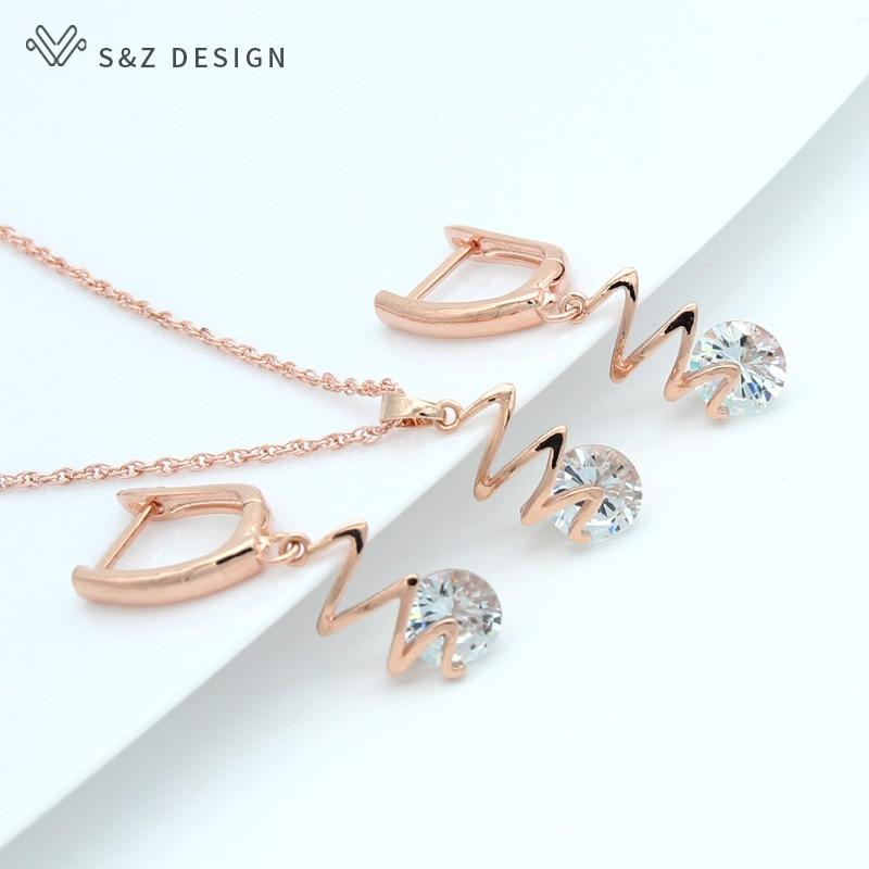 S & Z nueva gota colgante AAA pendientes de circón cúbico 585 Rosa conjunto de joyería de color dorado para mujeres fina boda joyería de moda regalo