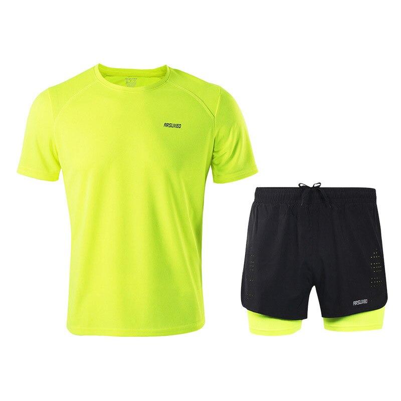 ARSUXEO, conjunto de correr de verano para hombre, manga corta, transpirable, para correr, Jersey, pantalones cortos, Maratón, gimnasio, Fitness, ropa deportiva