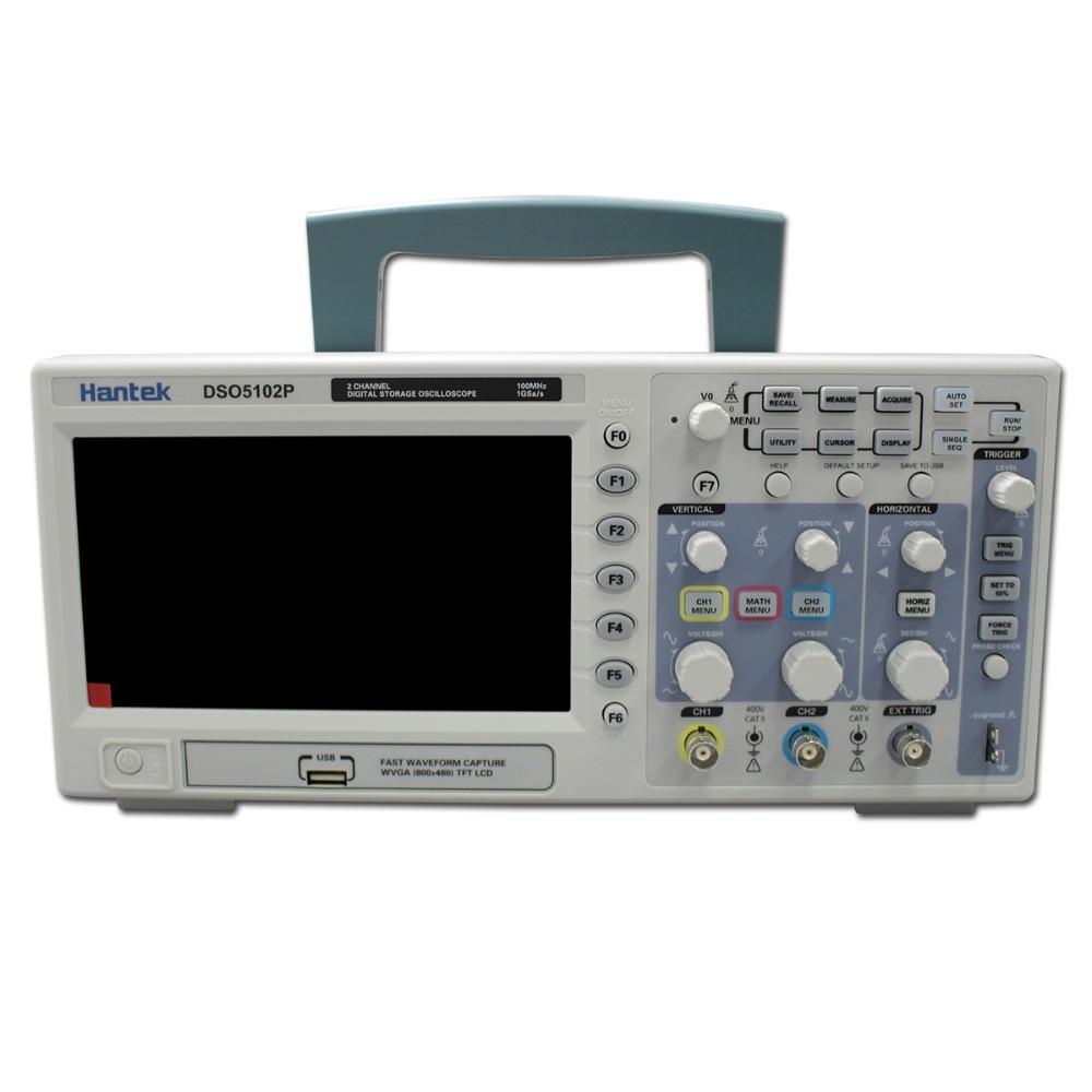 Hantek-Osciloscopio Digital DSO5102P, portátil, 100MHz, 2 canales, 1GSa/s, longitud de registro, 40K, USB, LCD, de mano, Osciloscopio de 7 pulgadas