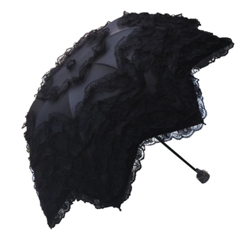 Sunny and Rainy Umbrella For Beautiful Women Summer Parasol Black Coating Anti UV Lace Umbrella 3 Folding Sun Umbrella