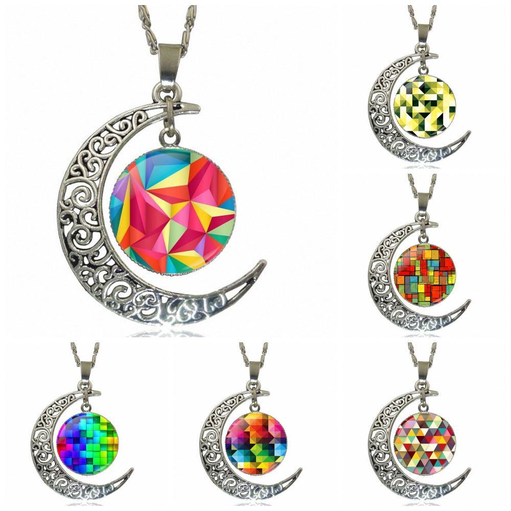Mosaico geométrico creativo para hombres y mujeres diseño de regalo de moda de cristal media luna mujeres collar colgantes