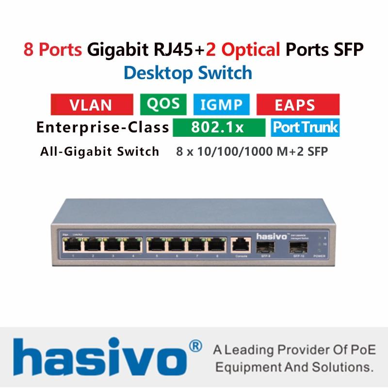 Фото - 8 port 10/100/1000M Gigabit Ethernet Switch Managed Switch With 8 port 1000M Rj45 2 Port 1000M SFP Fiber медиаконвертер tp link mc220l 1000m rj45 to 1000m sfp