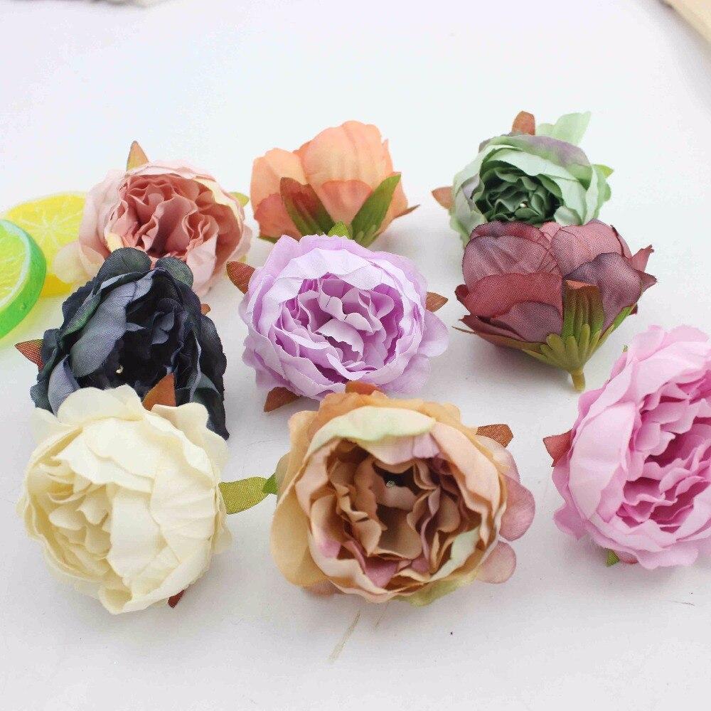 20 pieces 5 cm Peony Flower Head Artificial Silk Flowers For Wedding Decoration DIY Wreath Decorative Flowers False Flowers