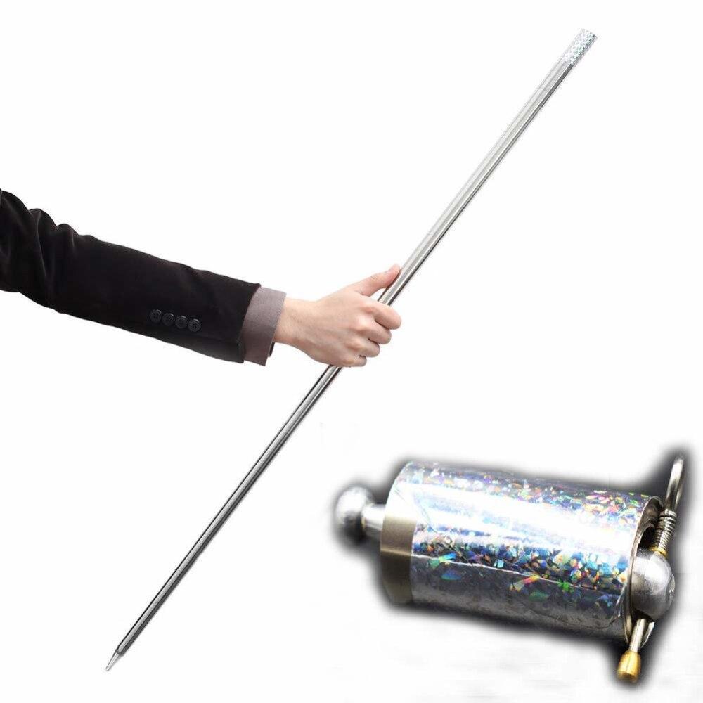 Trucos de magia profesionales de metal, 1 Uds., 110CM de largo, bastón plateado, cudgel, para escenario de magia callejera