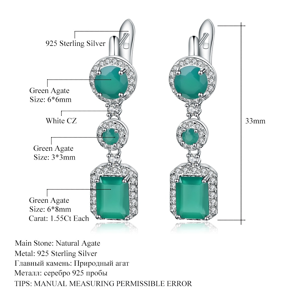 Gem's Ballet 4.96Ct Natural Green Agate Drop Earrings 925 Sterling Silver Vintage Earrings For Women Wedding Fine Jewelry