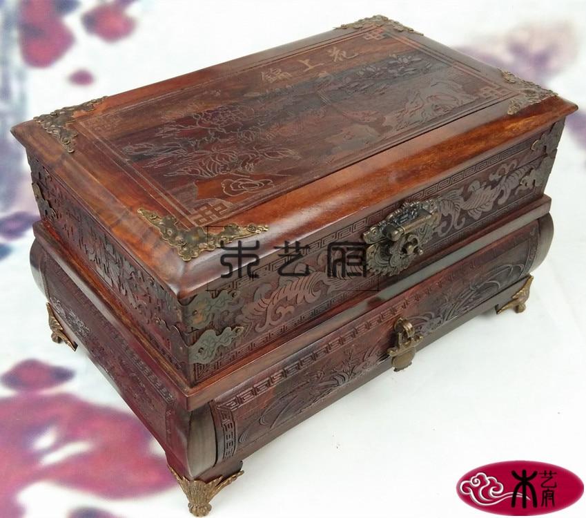 Caja de madera roja para espejo, joyero, joyero, mueble de madera tallada roja, adornos de boda, regalos