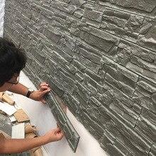 거실 레트로 3d 벽 스티커 방수 tv 배경 벽지 거품 벽돌 패턴 돌 곡물 자체 접착 벽지