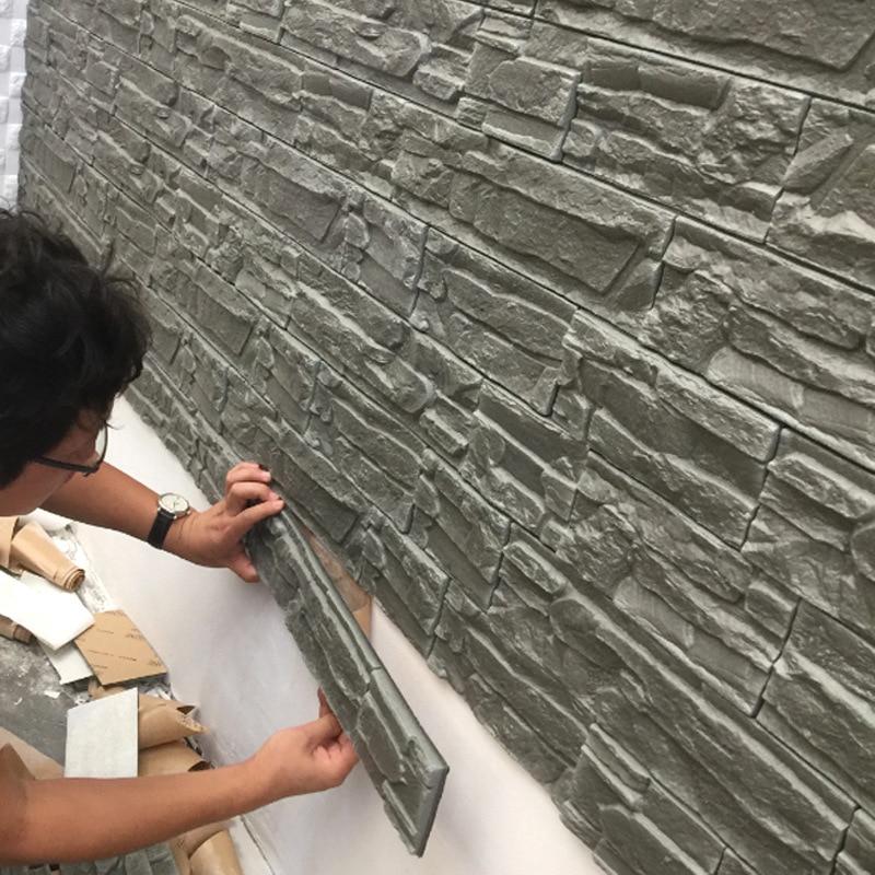 Living room retro 3D wall sticker Waterproof TV background wallpaper Foam brick pattern Stone grain self-adhesive wallpaper