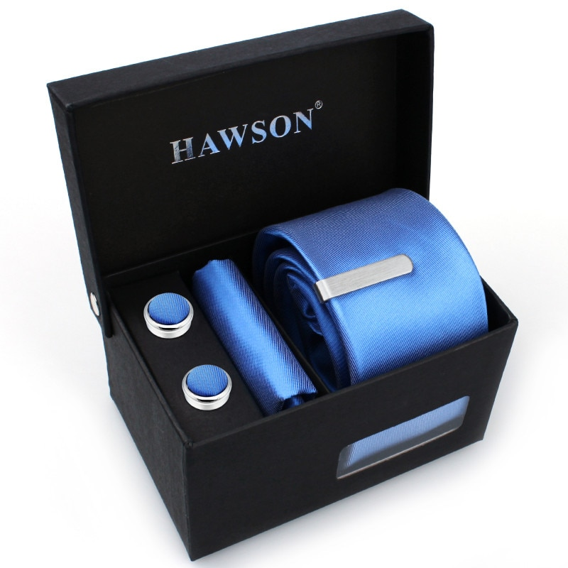 Hot Selling Men's Necktie Set  with Pocket Square and Button Cover Cuff-links & Tie Clip in Gift Box for Graduation