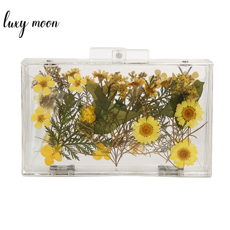 Luxury Women Flower Evening Clutch Bag Wedding Party Handbag Transparent Bag Clear Hard Box Purse Chain Shoulder Bag ZD1271