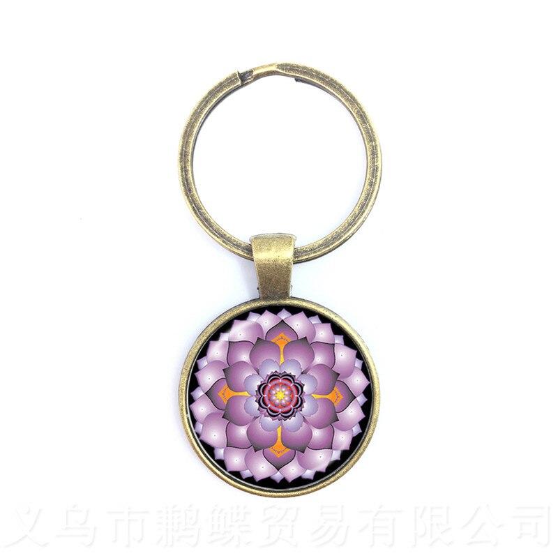 mandala-datura-цветок-время-драгоценный-камень-Кабошон-брелки-ручной-работы-летний-брелок-для-ключей-Священная-Геометрия-Драгоценности