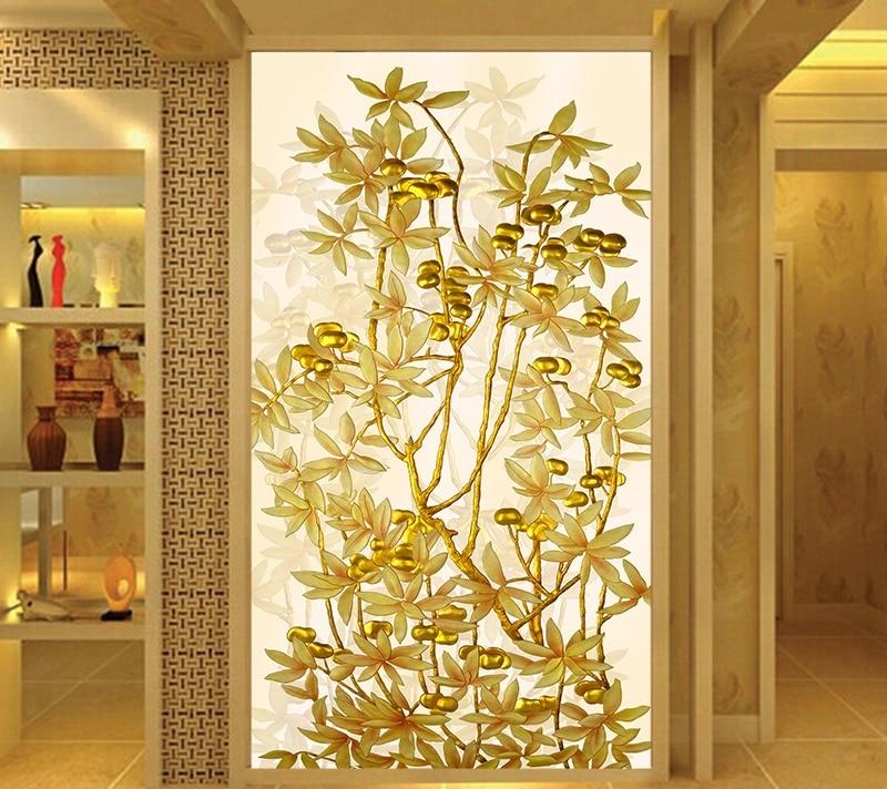 Pegatinas de película de vidrio para ventanas de tamaño personalizado arte árbol dorado opaco autoadhesivo para puerta pared pantalla ventana tendedero