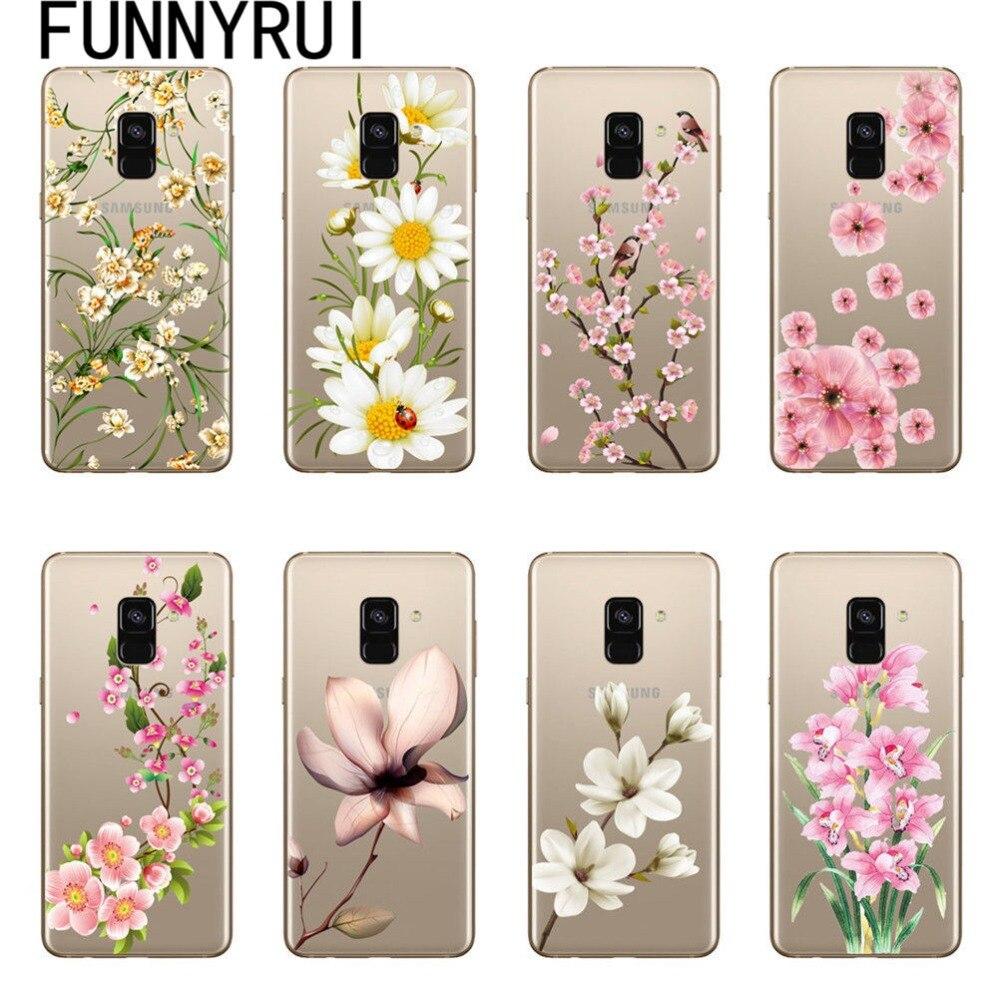 Funda de teléfono de silicona TPU suave con diseño Floral Sexy para Samsung Galaxy A5 J3 J5 J7 2016 2017 A6 A8 J4 J6 2018 Coque de flores
