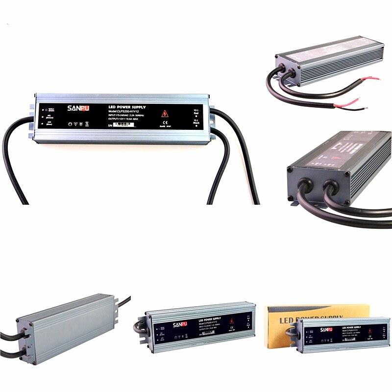 100% transformadores de iluminación originales de SANPUN Mini 24V DC 12V Ultra finos IP67 interruptor de tira LED impermeable fuente de alimentación 60 W-300 W