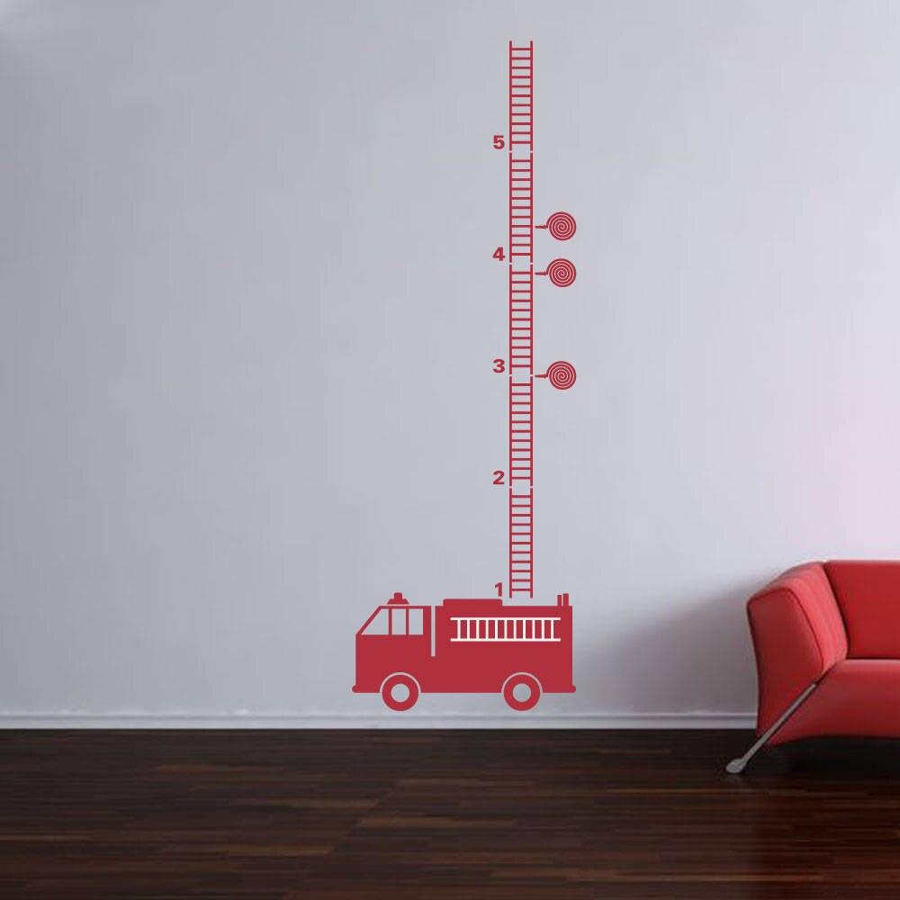 YOYOYU Art Home Decor Fire Engine Fire Truck Growth Chart Wall Decal Vinyl Sticker For Kids Boys Room Nursery Decoration WW-495