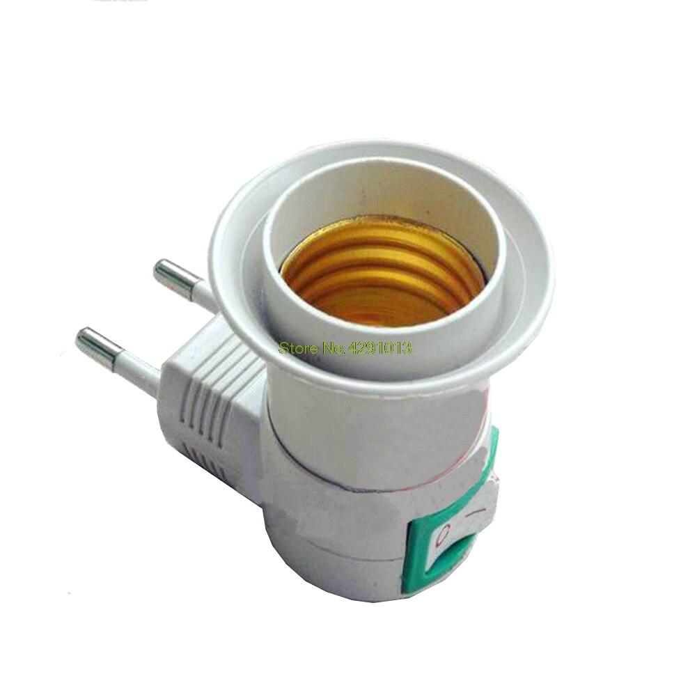 Toma hembra E27 para Adaptador de enchufe de la UE con interruptor de control de encendido y apagado, nuevo soporte de envío directo