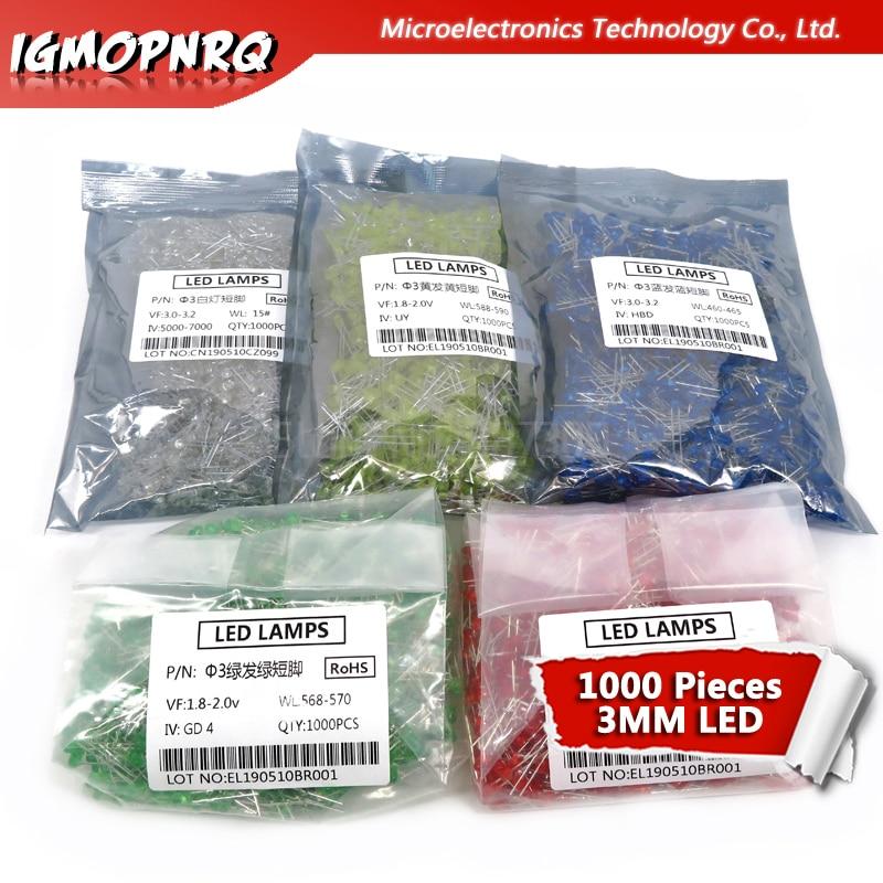 1000 pièces bleu vert rouge jaune blanc 3mm led diodes électroluminescentes