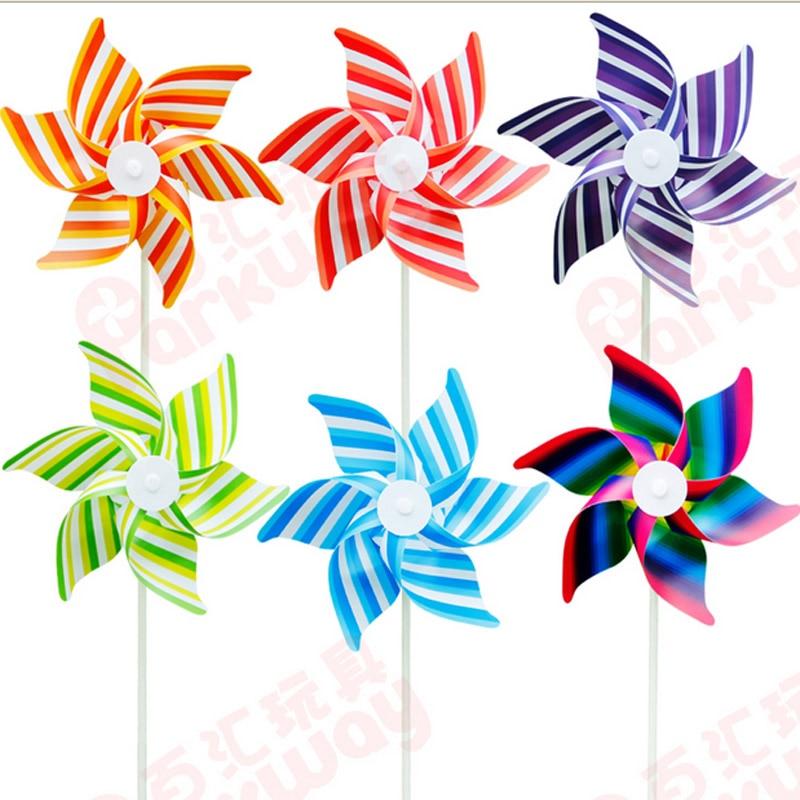 50 Uds envío gratis de molinete molino auto-rayas molino juguetes de los niños casa jardín decoración de juguete al aire libre