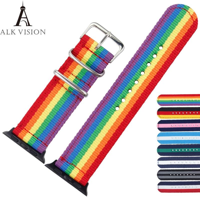 ALK Apple Watch Accesorio Band Pride Rainbo Correa de nailon para iwatch...