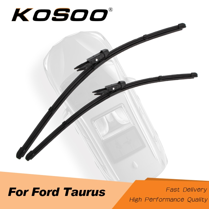 KOSOO para Ford Taurus 2008, 2009, 2010, 2011, 2012, 2013, 2014, 2015, 2016 limpiaparabrisas hoja de caucho Natural para pizca lengüeta/brazos de botón