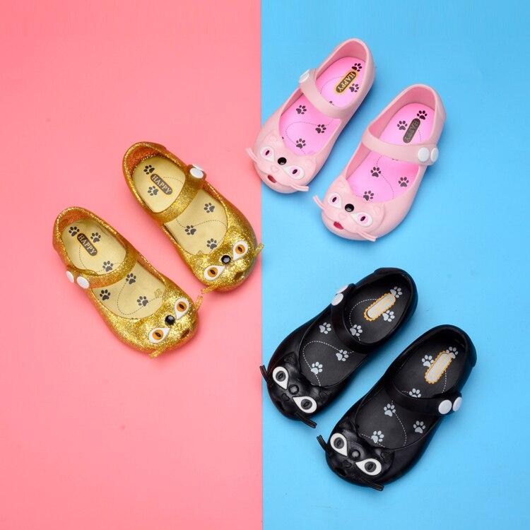 Melissa, zapatos para niñas, nuevas Mini sandalias para niños, zapatos con nudo de gato, sandalias de gelatina de cristal, zapatos con cabeza de pez para niñas