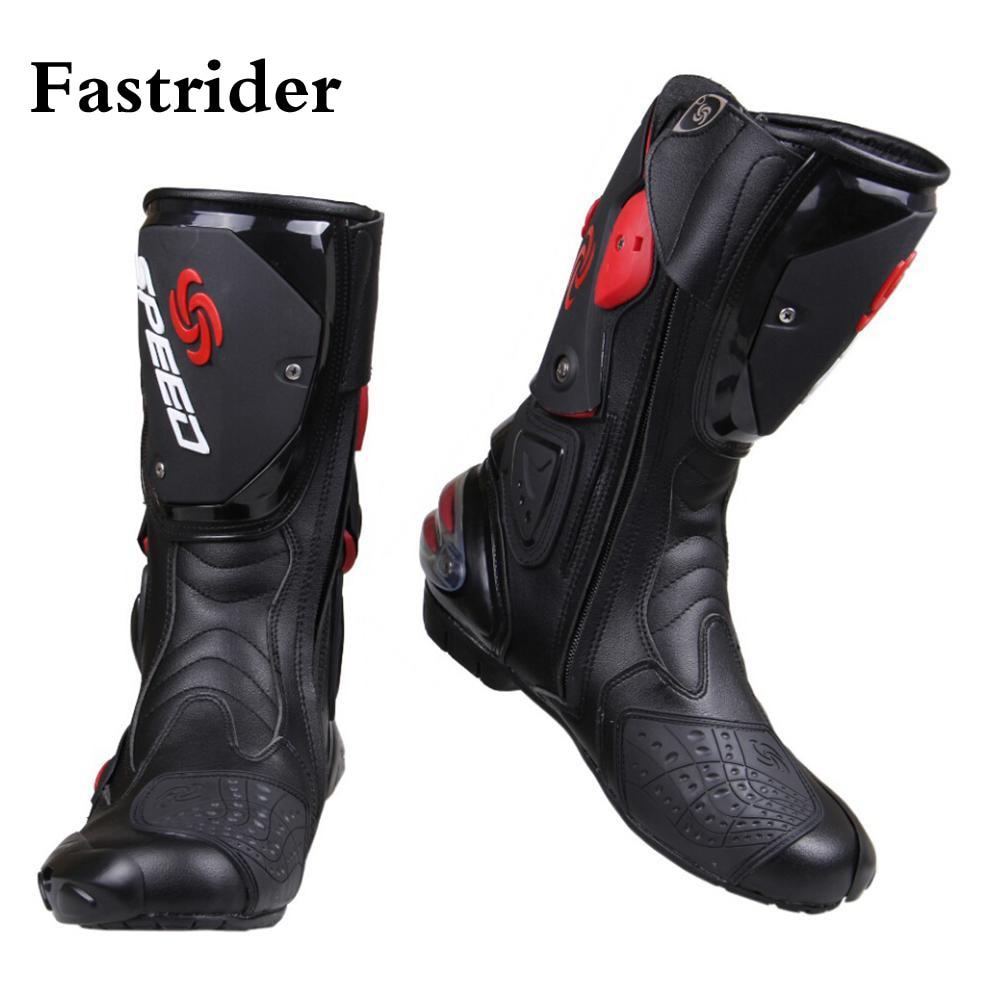Botas de motociclista a la moda para hombre, zapatos de motocicleta de carretera para Motocross de alta calidad en negro/blanco/rojo, tallas grandes 40-45 B1001