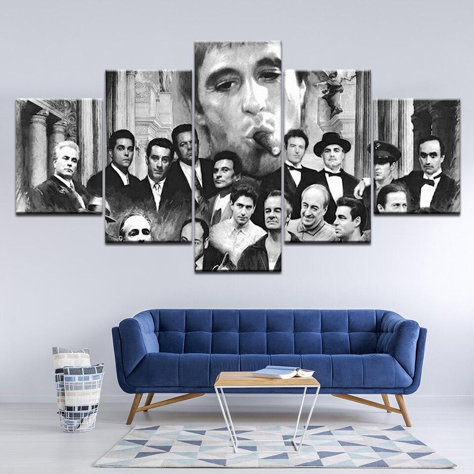 HD Печать Ретро Холст Картина 5 шт. Godfather Goodfellas Scarface Sopranos модульный постер для фильма Декор для комнаты настенное искусство