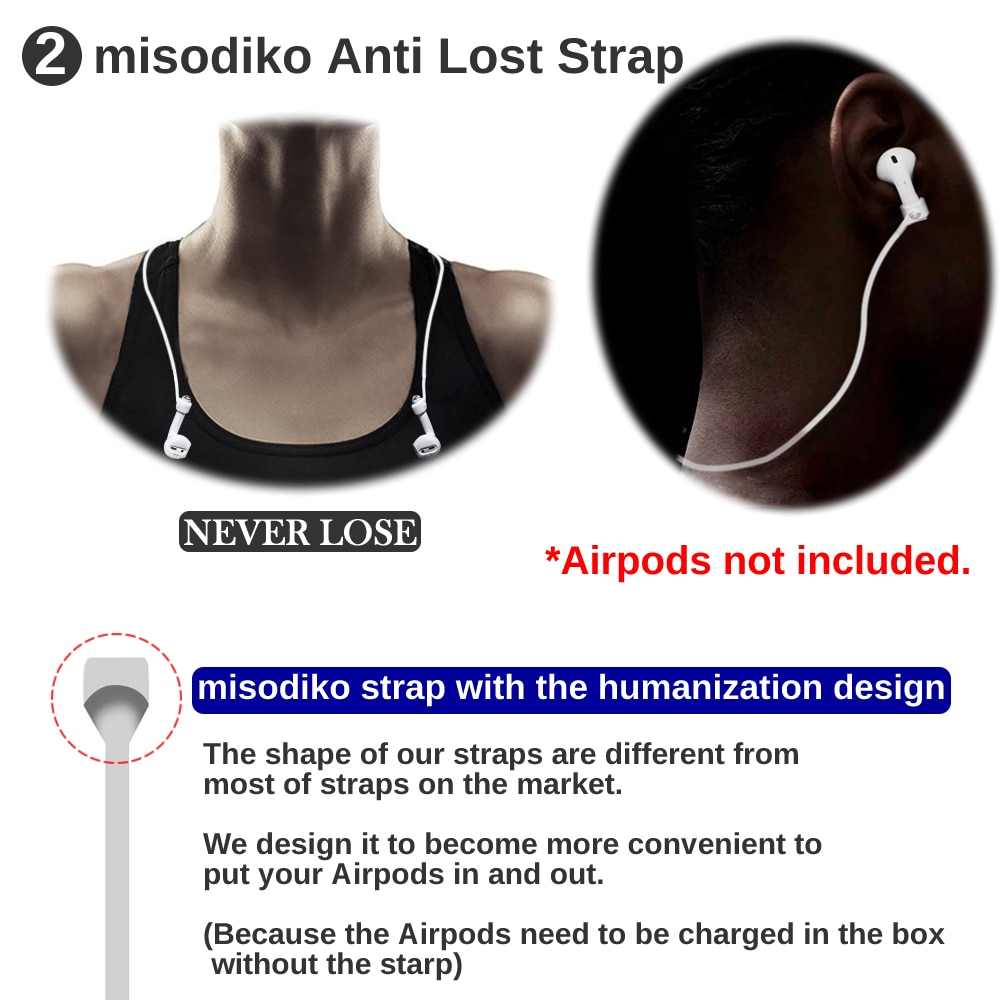 misodiko 3in1 Accessories Kits for Airpods-  Anti-Lost Silicone Strap+ Watch Band Holder+ Sports Ear Hooks- for Airpod air pods enlarge