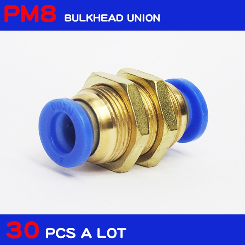 PM8 شحن مجاني جودة عالية 30 قطعة 8 مللي متر سريعة المشتركة ربط هوائي أنابيب الهواء تركيبات