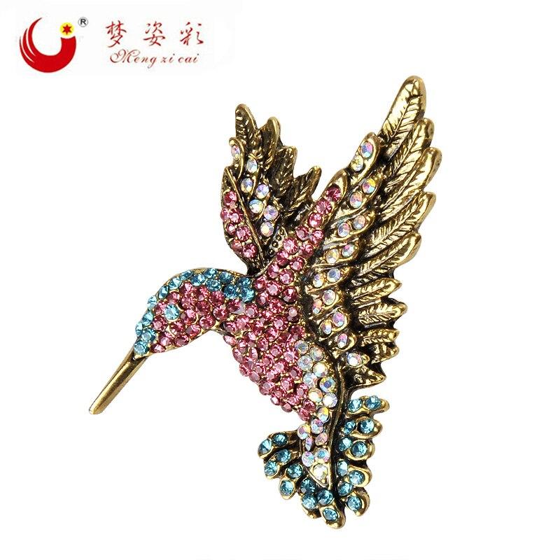 MZC encantador broche de colibrí Hummer Broches de madera nymph trachilus Femme Corsage Lapel Pin para mujeres fiesta regalos de navidad