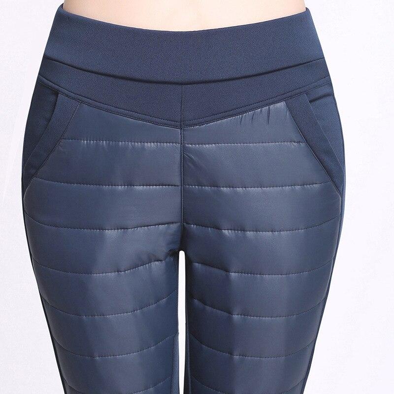 #2724 Winter Warm Pants Women Duck Down Pants Plus Size 4XL Slim Velvet Trousers Female Elastic High Waisted Casual Pencil Pants