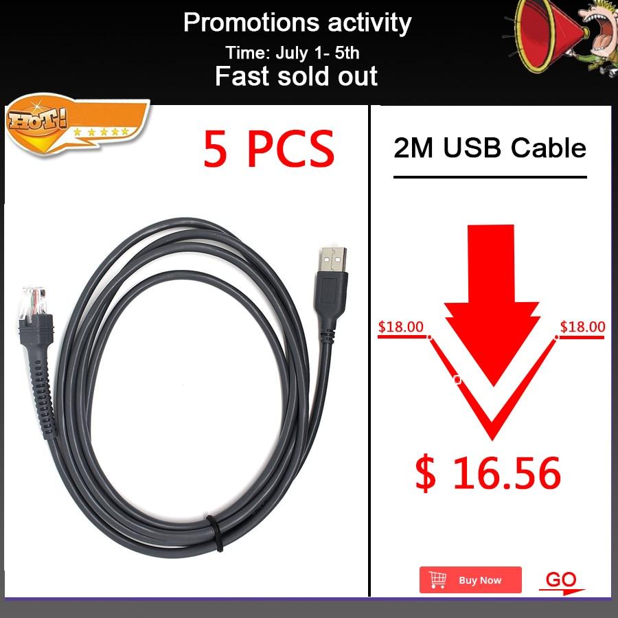 5 teile/los 2M Neue USB Kabel Für Motorola Symbol LS2208 Li2208 LS4328 LS6608 LS3008 CBA-U01-S07ZAR Barcode scanner Reader