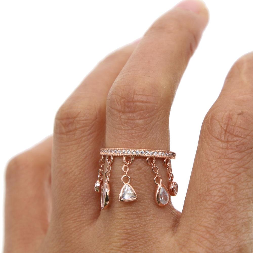 2019 fashion Delicate Zircon Crystal charm tassel elegant drop-shaped Ring for Women Ladies Girls Rose Gold Color Finger rings