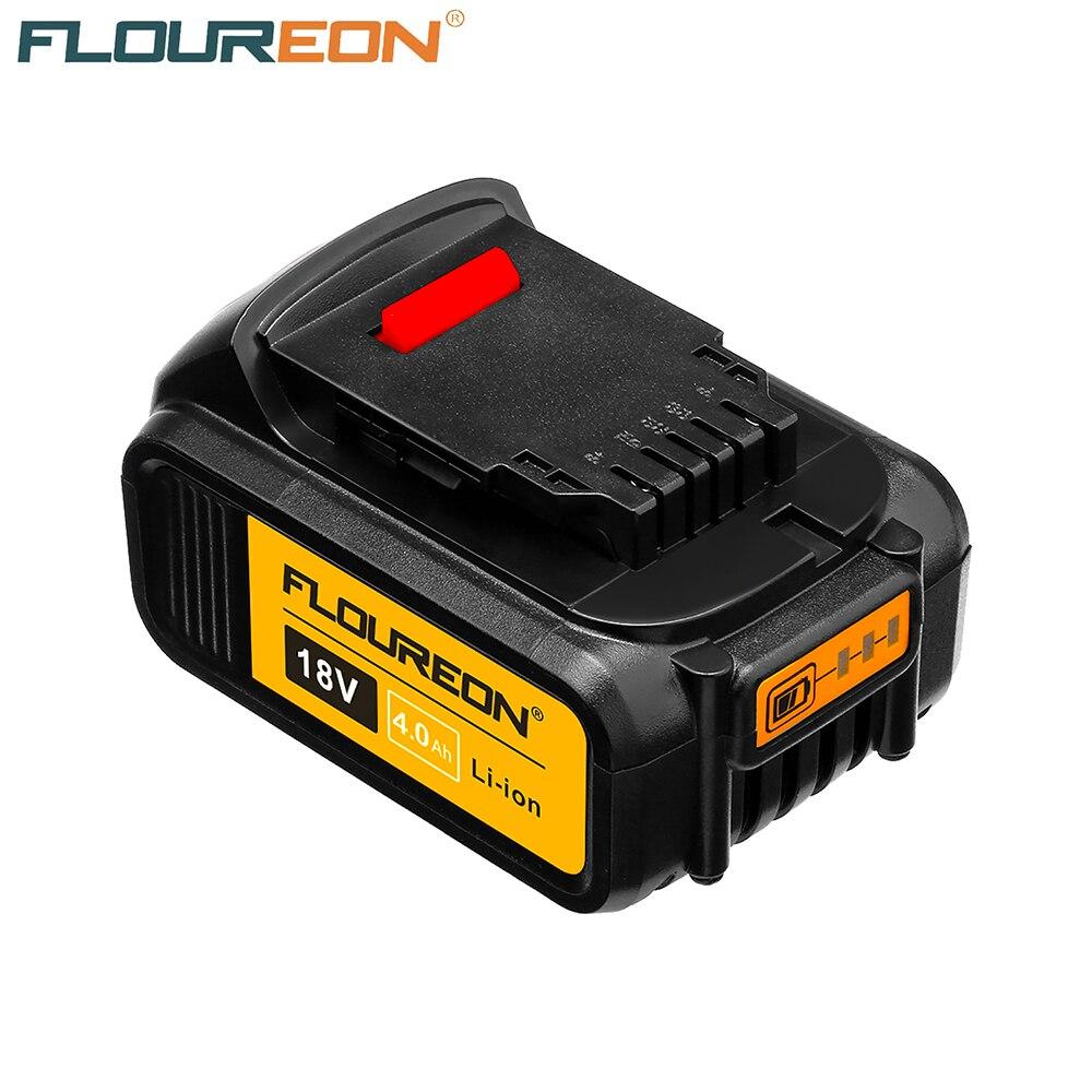 FLOUREON 18V 4000mAh Li-ionBattery Rechargeable Power Tools Batteries Cordless for DeWalt Drill DCB181 DCB182 DCD780 DCD785