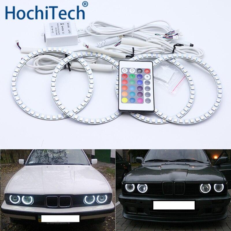 Para BMW E30 E32 E34 Multi-cor Kit Led Angel Eyes Anéis de Halo RGB Luz de Circulação Diurna DRL
