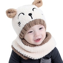 Ensemble deux pièces bébé garçon fille   Chapeau doux tricoté et écharpe, tenue de cagoule et écharpe, pour enfants, 2018