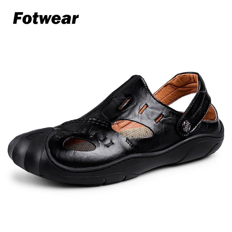 Fotwear, sandalias de cuero para hombre, zapatos de hombre calzado con un dedo del pie protector, tallas grandes a 10,5, zapatos para caminar en la playa